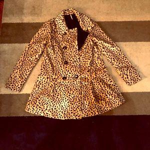 FREE PEOPLE leopard peplum pea coat size 4